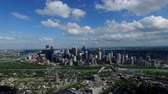 establishing shot : Aerial panorama Calgary Alberta Stock Footage