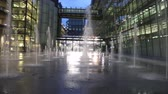 Outdoor fountains night building Heathrow airport UK