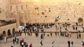 judaísmo : Jerusalem, Western Wall, people in the area, a lot of people, people pray at the stone wall, wailing wall, Israel flag, religion, top shooting, view from above