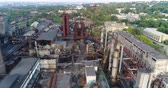 above fire : Industrial area top view, View of the industrial object, Courtyard of a factory, Aerial view, Smoke and fire, environmental pollution, environmental pollution, ecological disaster, panoramic view, 4K Stock Footage