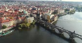 Влтава : Panoramic view from above to the city of Prague and Charles Bridge, Vltava River, flight over the Charles Bridge