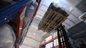 coil : Truck carry the goods, warehouse billets, wire, truck, shipping, electric, indoor, Industrial interior Stock Footage
