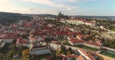 viena : Panorama of Prague, aerial of the city, view from above on the cityscape of Prague, flight over the city, Area Old Town, Prague Castle and Vltava River, Czech Republic, Prague Vídeos