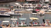 několik : Cyprus, Greece, Pleasure boats and fishing boats in harbor, fishing boats near the pier, boat parking, A number of fishing boats park near the pier in the port, Panorama, top view, tourism