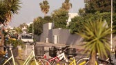 lawn : Cars on the streets of the resort city, bicycles and a palm tree on the background of a city highway in a resort town, summer, traffic, shallow depth of field Stock Footage