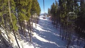 chairlift : People are skiing, high spruces on the hillside, sunny day