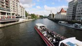 farra : Berlin city skyline at Museum island and Berlin TV Tower, Tourist ship on River Spree