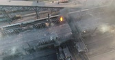 kısa ve kolsuz bluz : Industrial area top view, View of the industrial object, Courtyard of a factory, Aerial view, Smoke and fire, environmental pollution, environmental pollution, ecological disaster, panoramic view, 4K Stok Video