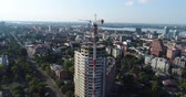 realtor : Construction of a multi-storey building, Tower crane, Unfinished multi-storey building, Building a high rise, Panoramic view Stock Footage