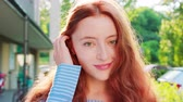рыжеволосый : Red-haired lady. Emotion. Smile Closeup shot