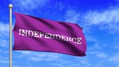 independency : Computer generated an independence flag loop waving in wind and against a cloudy blue sky