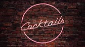 boates : Flashing Pink Neon Cocktails Sign Against A Red Brick Wall Outside A Bar