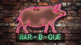 ダイナー : Flashing Neon Rustic Old Pig Sign For A Bar-B-Que (Barbecue Or BBQ) Diner