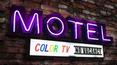 volné místo : Retro Neon Motel Sign In California Advertising A Color TV