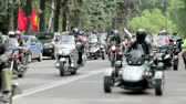 motorcyclists : group of motorcyclists traveling on the road Stock Footage