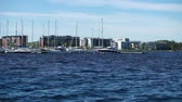 такелаж : yachts in the harbor Marina Lappeenranta, Finland Стоковые видеозаписи
