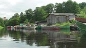 petersburg : Fishing boats moored . Stock Footage