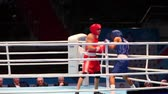 Boxing hard battle with sound St. Petersburg, Russia, November 23, 2016 AIBA Youth World Boxing Championships men heavy 64 kg. Boxing match between: RED-Tabal S., Sweden, BLUE -Polanco E., Dominicana Stock Footage