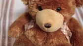 младенчество : brown teddy bear,  soft toy, portrait cute teddy bear, teddy-bear swinging  side to side
