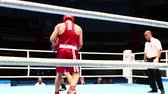 uppercut : St. Petersburg, Russia, November 23, 2016 Youth World Boxing Championship men, ring boxing match. Stock Footage