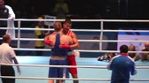 combativo : St. Petersburg, Russia, November 23, 2016 Youth World Boxing Championship men, Referee in the ring, announces the winner in a boxing match.