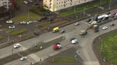 miniatűr : Traffic at the intersection, top view, time lapse Stock mozgókép
