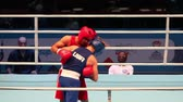 árbitro : boxing championship St. Petersburg, Russia, November 22, 2016 Youth World Boxing Championship  men heavy 69 kg. Boxing match between: RED-. Saidov  M. Turkmenistan ,  BLUE - Ababiy N. USA