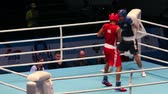 müsli : St. Petersburg, Russia, November 22, 2016 Youth World Boxing Championship  men heavy 69 kg. Boxing match between: RED-. Akbar M. England, BLUE - Newns S. Scotland Dostupné videozáznamy