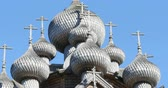karelia : Wooden crosses over the dome of the church