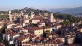 mavic : Drone aerial view of Bergamo - Old town. One of the beautiful cities in Italy. Landscape on the city center, the main square and its historic buildings during a wonderful blue day