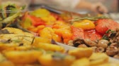 lunchroom : Barbecue mushrooms and vegetables: paprika, potatoes with dill and rosemary. Stock Footage