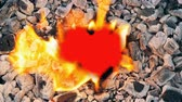 amante : Small red heart burns down in fire flame and turns to dust. Conceptual symbol of love