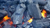 minerais : Black coals giving out an intense heat, close-up footage Stock Footage