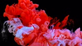 nádech : Colorful red and white acrylic ink mixing in water and form a cloud, high quality and detailed footage