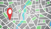 cartografia : Rotating red pinpoint on the map, geographical location on the map with a pointer to the address Stock Footage
