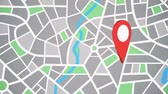 アドレス : Rotating red pinpoint on the map, address marker pointed on geographical location on a map 動画素材