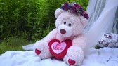 свадьба : Pink bear with flowers decoration. White bear toy. Teddy bear on decorative pillows. Decorations for wedding photo session in park at summer