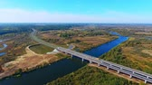road top view : Birds eye view of highway road over river. Aerial view road bridge over water. Beautiful aerial highway road landscape. Highway bridge. View from above. River road landscape high view