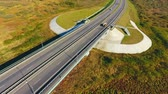 příjezdová cesta : Aerial landscape bridge highway. Sky view cars traffic on highway road. Landscape highway. Motorway. Straight road. Highway road above river landscape. Aerial view road in autumn nature landscape