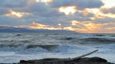 Sunset on the Kachemak Bay with large waves and driftwood in the foreground