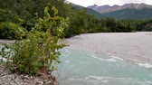 Matunuska River flowing with blue from glacier melt Stock Footage