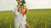 nature close up : Little boy with curls playing in green wheat field with blue wooden airplane toy. Handsome little boy playing with toy plane on meadow on sunny day. Close up. Portrait shot
