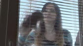 housekeeping : Woman washes very dirty window. Housewife performs routine work