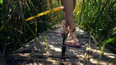 привлекательность : Young woman walks through jungle on wooden ladder