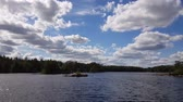 szwecja : Beautiful view on lake on summer day. Dark blue lake water surface, green tall trees and blue sky with white clouds.Gorgeous colorful nature backgrounds. Sweden, Europe. Wideo