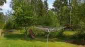 suécia : Beautiful view of the backyard of private house. Gorgeous green nature on summer day. Sweden. Europe. Vídeos