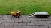 View of radio controlled model dump truck and trailer Free time. Children and adults concept. Hobby. Toys.