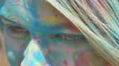 4k : girl face close-up in the paint Stock Footage
