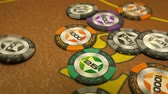 movimento circular : poker chips fall on the table Stock Footage