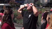 human eye : man looks at a solar eclipse through glasses